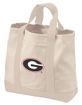 University of Georgia Tote Bags NATURAL CANVAS