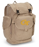 Georgia Tech LARGE Canvas Backpack Tan