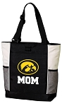 University of Iowa Mom Tote Bag White Accents