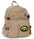 Iowa Hawkeyes Canvas Backpack Tan