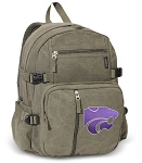 Kansas State Canvas Backpack Olive