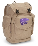 Kansas State LARGE Canvas Backpack Tan