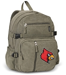 Louisville Cardinals Canvas Backpack Olive