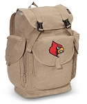 Louisville Cardinals LARGE Canvas Backpack Tan