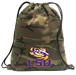 LSU Drawstring Backpack Green Camo