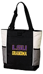 LSU Tigers Grandma Tote Bag White Accents