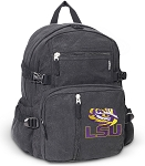 LSU Tigers Canvas Backpack Black