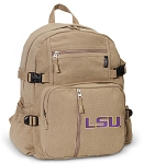 LSU Tigers Canvas Backpack Tan
