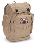 LSU LARGE Canvas Backpack Tan