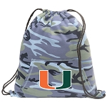 University of Miami Drawstring Backpack Blue Camo