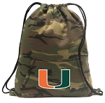 University of Miami Drawstring Backpack Green Camo