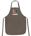 University of Miami Grandma Deluxe Apron Khaki