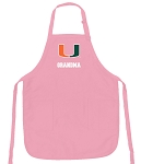 Deluxe University of Miami Grandma Apron Pink - MADE in the USA!