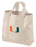 University of Miami Tote Bags NATURAL CANVAS