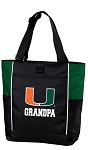 University of Miami Grandpa Tote Bag Hunter Green
