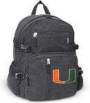 University of Miami Canvas Backpack Black