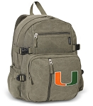 University of Miami Canvas Backpack Olive