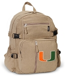 University of Miami Canvas Backpack Tan