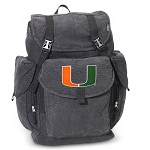 University of Miami LARGE Canvas Backpack Black