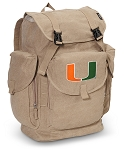 University of Miami LARGE Canvas Backpack Tan
