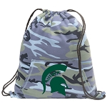 Michigan State Drawstring Backpack Blue Camo