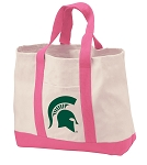 Michigan State Tote Bags Pink