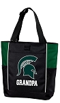 Michigan State Grandpa Tote Bag Hunter Green
