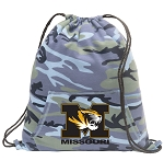Mizzou Drawstring Backpack Blue Camo