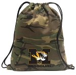 Mizzou Drawstring Backpack Green Camo
