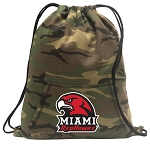Miami University Redhawks Drawstring Backpack Green Camo