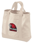 Miami University Tote Bags NATURAL CANVAS