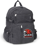 Miami University Redhawks Canvas Backpack Black