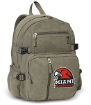 Miami Redhawks Canvas Backpack Olive