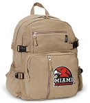 Miami Redhawks Canvas Backpack Tan