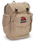 Miami Redhawks LARGE Canvas Backpack Tan