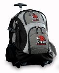Miami University Redhawks Rolling Backpack Black Gray