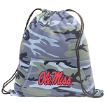 Ole Miss Drawstring Backpack Blue Camo