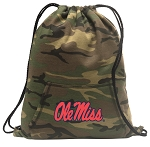 Ole Miss Drawstring Backpack Green Camo