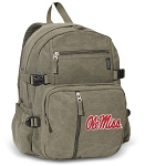 Ole Miss Canvas Backpack Olive