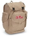 Ole Miss LARGE Canvas Backpack Tan