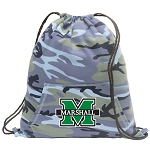 Marshall University Drawstring Backpack Blue Camo