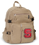 NC State Canvas Backpack Tan