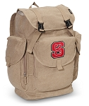 NC State LARGE Canvas Backpack Tan
