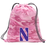 Northwestern Wildcats Drawstring Backpack Pink Camo