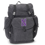 Northwestern Wildcats LARGE Canvas Backpack Black