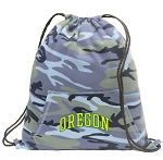 University of Oregon Drawstring Backpack Blue Camo