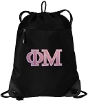 Phi Mu Drawstring Backpack-MESH & MICROFIBER