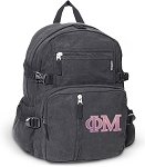 Phi Mu Canvas Backpack Black
