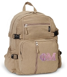 Phi Mu Canvas Backpack Tan