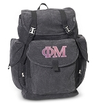 Phi Mu LARGE Canvas Backpack Black